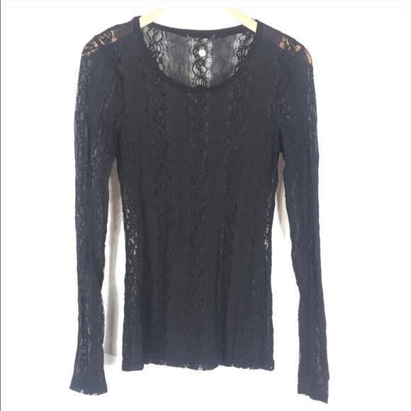 BKE Tops - BKE Black Lace Long Sleeve Top